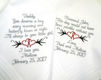 Wedding Gift for Dad from Daughter Wedding Gift for Reverend Embroidered Wedding Handkerchief Wedding Gift for Dad By Canyon Embroidery