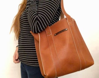 Handmade leather tote - village tan