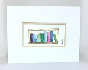 Hand made card, Book Card, Book Worm, Book Shelf card, Water Colored Card, Blank Card