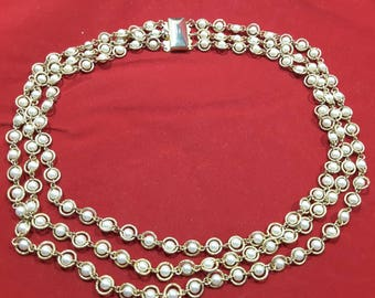 Fabulous 1950's Faux Pearl Multistrand Necklace