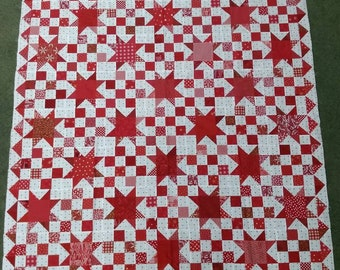 Red  and white star quilt top