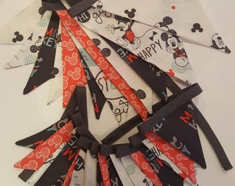 Set of 2 Kids fabric garland. bunting. Nursery garland.party  birthday. Mickey Mouse