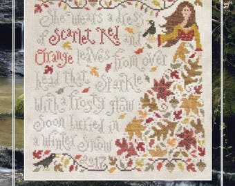 SILVER CREEK SAMPLINGS Olivia Ochreleiph counted cross stitch patterns at thecottageneedle.com Autumn Winter