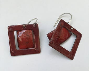 Red Enameled Copper Danglers