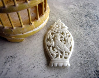 The Birdcage Vintage Style Carved Bone Pendant 55mm