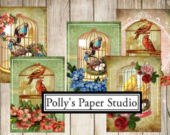 Bird Cage & Florals  Digital Images Printable Download File 9 Images Polly's Paper Studio