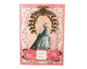 Marie Antoinette, Birthday Card, French Inspired, Paris Party, Fancy Handmade Card, Paris Inspired, Luxury Card
