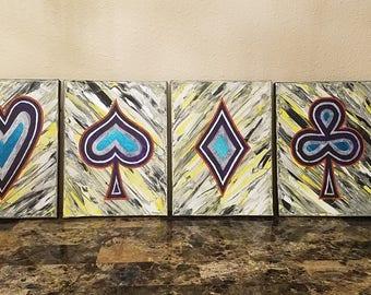 "Yellow, Purple, White, Black, Silver, Orange and Green Original Las Vegas Acrylic Paintings 9x12"" 4 Piece Set, Artwork, Wall Art, Carl Dunn"