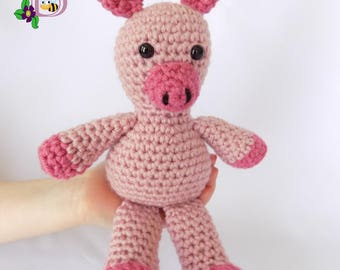 Pink Pig Stuffed Animal  Pink Pig Plush Toy  Crochet Pink Pig Stuffed Animal  Crochet Plush Pink Pig Toy  Pink Pig Snuggly Pal