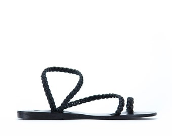 Greek sandals, Toering Handbraided Leather Sandals, Women sandals, Handmade sandals. Black sandals,