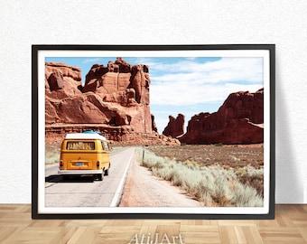 Désert impression paysage désert, désert murale, art, art mural de l'Arizona, Arizona décor, décor de Western, voyage désert, art mural montagne, VW bus