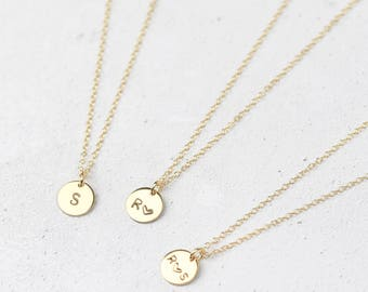 Gold Initial Necklace • Gold Letter Necklace • Personalised Disc Necklace • Gold Initial Pendant • Personalised Necklace • Initial Disc