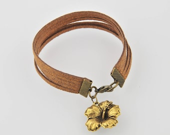 Tan suede and Gold Flower bracelet