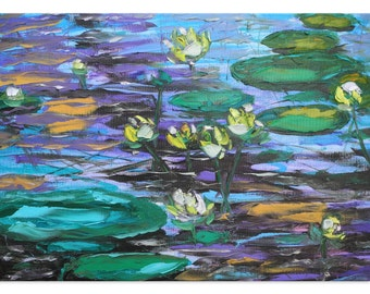 Blue pond - lily Original green impressionism Floral Oil Painting Canvas Palette Knife gallery fine art ready hang impasto water