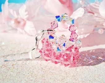 Pink Swarovski Crystal iPhone Dust Plug Charm Lt. Pink Crystal Purse iPhone Bling
