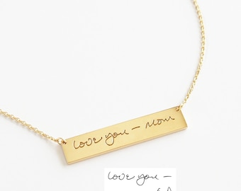Personalized Handwriting Bar Necklace / Engraved Signature Bar Necklace / Actual Handwriting Bar Necklace / M-BN01