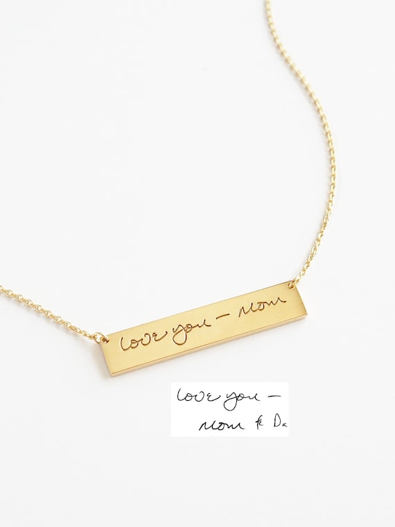 Personalized Handwriting Bar Necklace Engraved Signature Bar