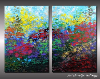 Large Impressionism Wildflower Palette Knife Painting on Canvas Contemporary Abstract Flowers Colorful Diptych Landscape 36x48 JMichael
