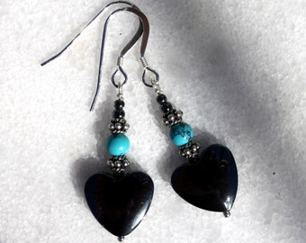 Heart Earrings, Hematite Earrings, Turquoise, Silver Earrings, Hematite, Dangle earrings, Heart, Gemstone Earrings