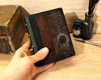 Worn Little Journal with Vintage Leather, Miniature Book, Parchment paper