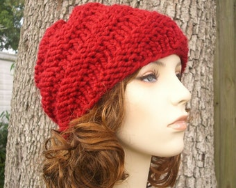 Red Womens Hat - Swirl Beanie Cranberry Red Knit Hat - Red Hat Red Beanie Chunky Knit Hat Womens Accessories Winter Hat