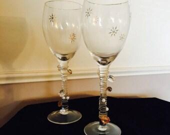 Beaded Wine Glasses / Bar Ware / Fancy Wine Glasses