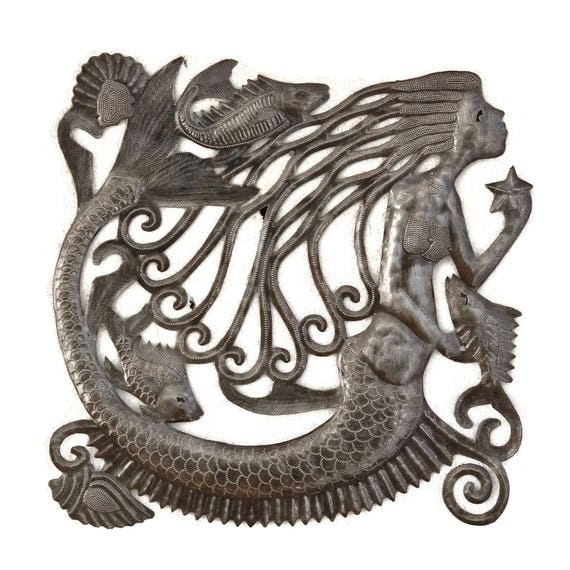 """Mermaid, Artistic Metal Wall Hanging, Indoor and outdoor Beach themed decor, 17"""" x 17"""""""