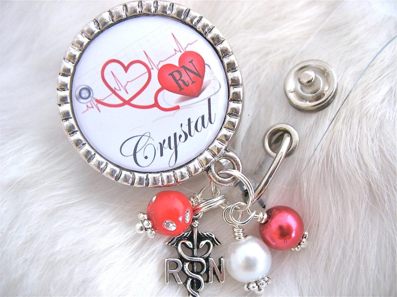 Personalized ID Badge Reel RN Np Lmt Nicu Bsn Cardiac Nurse