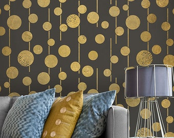 Large Geometric Circles Wall Stencils - Boho Chic and Glam Stenciled Wallpaper