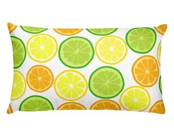 Citrus Slices Lumbar Pillow lemon orange lime pattern Square throw Pillow Rectangular Pillow by Glimmersmith