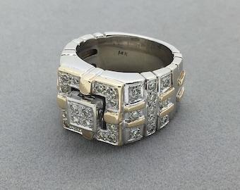 Vintage Chunky 14k White and Yellow Gold Diamond Ring, Statement Diamond Ring, Large White Gold Ring, Bling Retro Runway