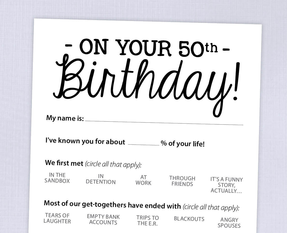 This is a graphic of Exhilarating Free Printable 50th Birthday Party Games
