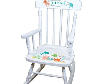 Childu0027s Rocking Chair Personalized With Sealife Under The Sea Life Nursery  Custom Beach Theme White Wood Rocker Nautical Toddler SPIN Whi232
