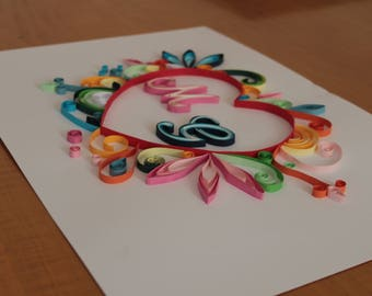 Quilling-Heart with customizable initials