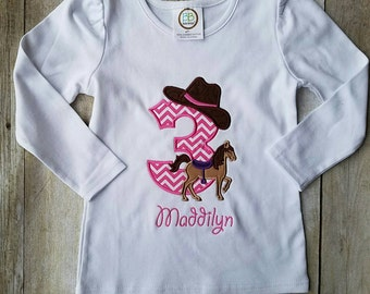 Cowgirl horse birthday shirt pink and purple