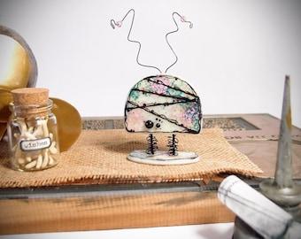 Mixed Media Robot - Robot Sculpture - Robot Figurine - Robot Decor - Robot Art - Fused Glass Robot - Fused Glass Art - Geek Gift  Desk Decor