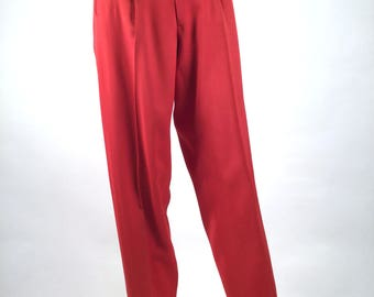 """Vintage 50s Mens Red & Black Top Stitched Gabardine Rockabilly Pants, W 26"""", Hollywood High Waist Trousers w Matching Belt, Campus Casuals"""
