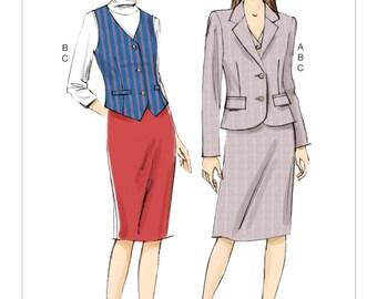 Vogue Pattern V9138 Misses' Welt-Pocket Blazer, Vest and Straight Skirt