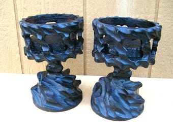 Gothic Candle Holders - 1970s Decor - Brutalist Candle Holder Set - Pair of Vintage Candle Holders - Dungeon Decor