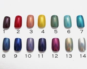 Choose Your Color Holo Press On Nails | Holographic Nails | Acrylic Glue On Nails | False Nails | Square Press On Nails  | Custom Color Holo