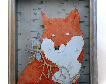 Noble Branches- 8x10 printed fox shadow box- MADE TO ORDER!