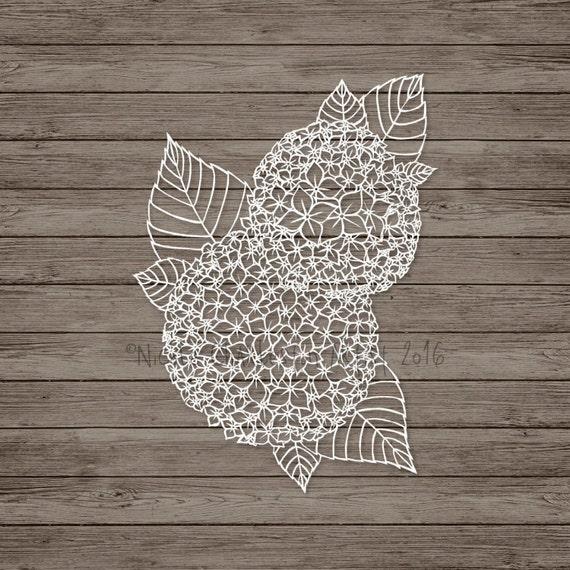 Hydrangea Papercut Template Hydrangea Paper Art Floral Art