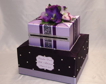 Eggplant/Lavender(Lilac)Card Box-any colors-Rhinestone accents-any occasion