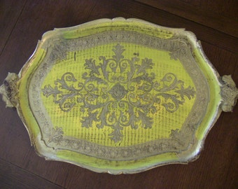Large Gorgeous Vibrant Yellow and Gold Italian Serving Tray