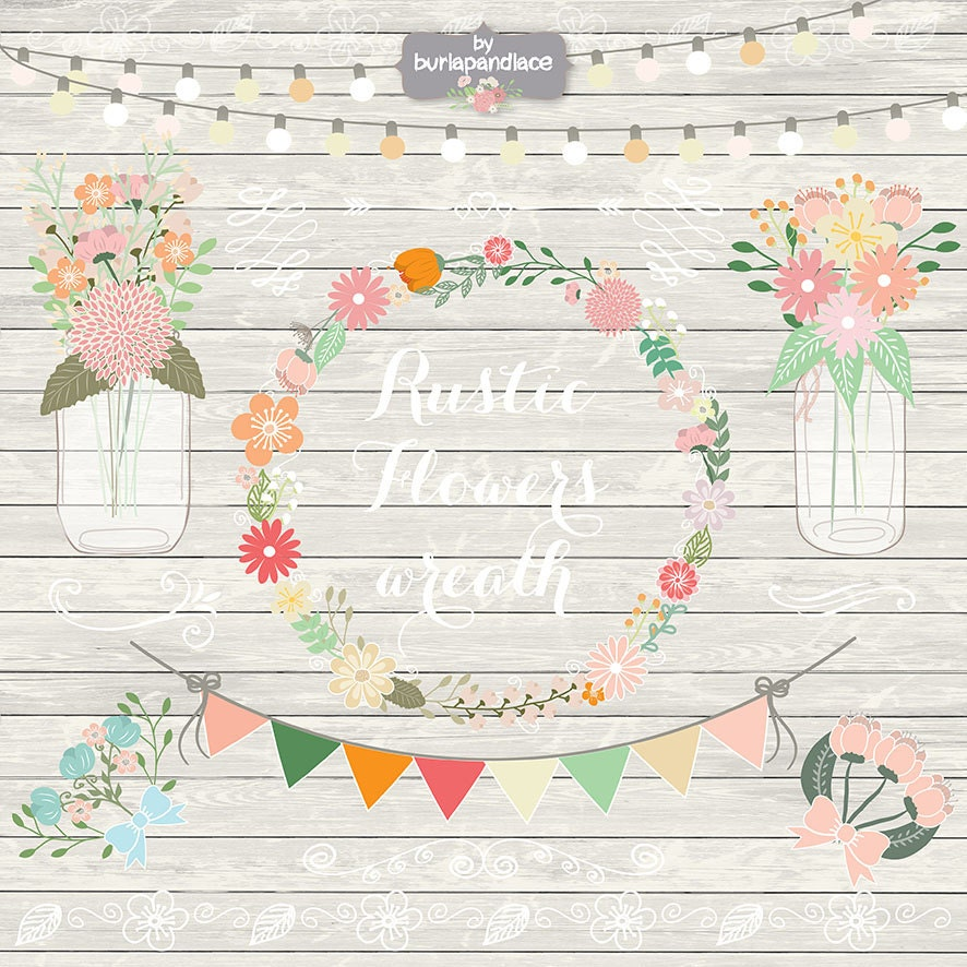 Rustic wedding clipart, shabby chic clipart, Hand Drawn clipart ...