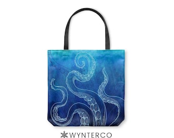 TOTE BAG - Octopus Tote Bag - Canvas tote bag, Watercolor Octopus Tote Bag, Blue shoulder carry bag, Yoga Tote Bag Wynterco Paint tote