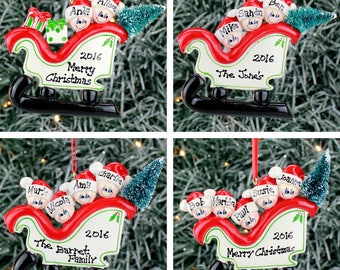 Personalised Christmas Tree Decoration - Sleigh Family