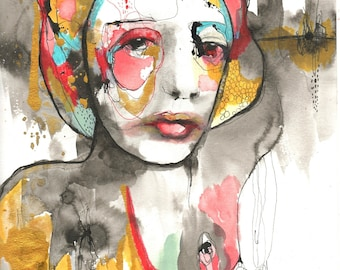 "Original Painting on Paper , Mixed Media Collage with Watercolor & Ink by Christina Romeo ""Scrumptious Face"""