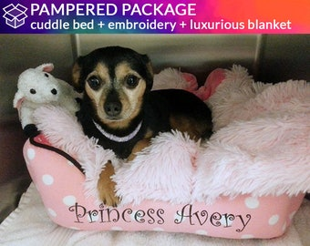Bed & Blanket Bed Combination with Personalization  |   Pink, Black, Cute | Washable, Design Your Own