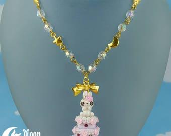 Rüschen Kuchen Hase   Halskette   Sweet Lolita Mode   Kawaii Häschen   Rose